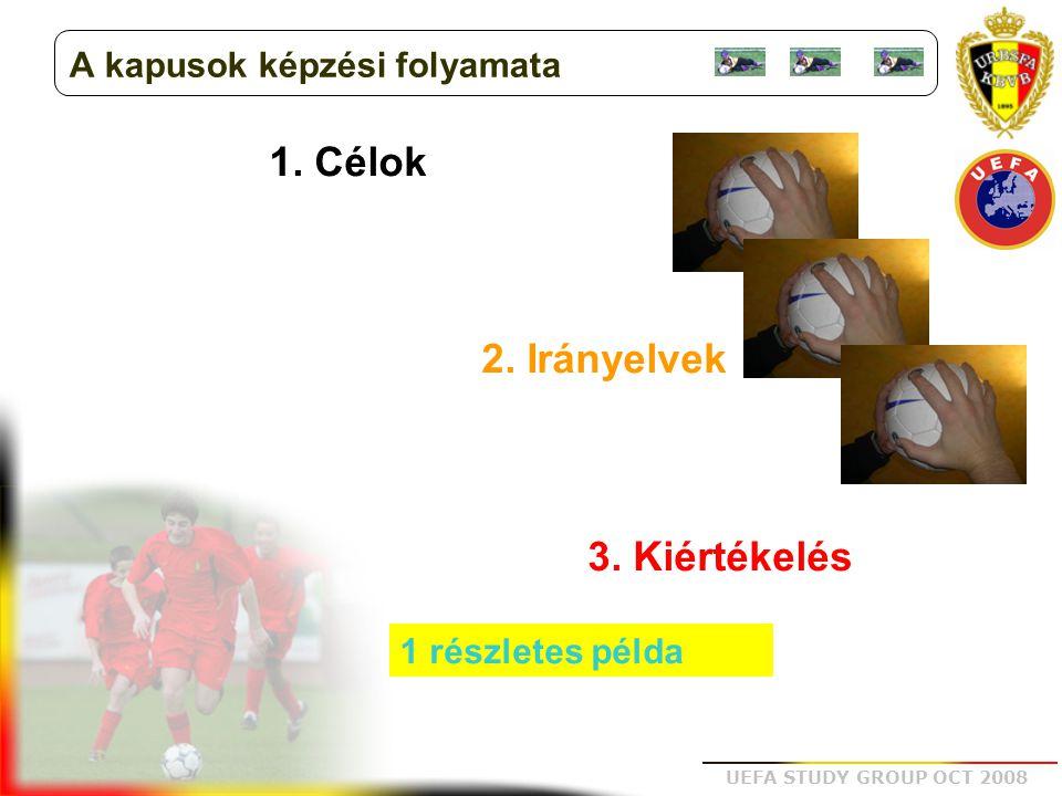 UEFA STUDY GROUP OCT 2008 1. Célok 2. Irányelvek 3. Kiértékelés 1 részletes példa A kapusok képzési folyamata
