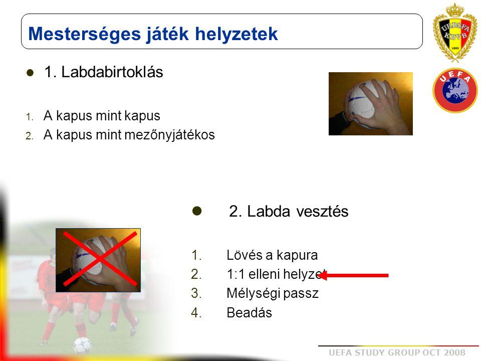 UEFA STUDY GROUP OCT 2008 Mesterséges játék helyzetek 1. Labdabirtoklás 1. A kapus mint kapus 2. A kapus mint mezőnyjátékos 2. Labda vesztés 1. Lövés