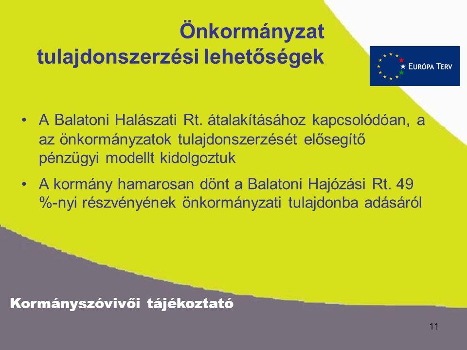 Kormányszóvivői tájékoztató 10 Mit teszünk a horgászokért ? A Balatoni Halászati Rt. tulajdonosi jogait a KvVM gyakorolja. A céget a tó természetes ha