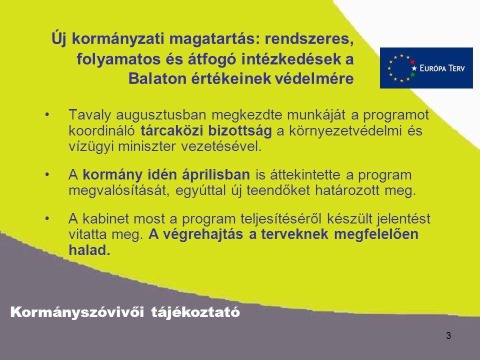 2 A Kormány gondoskodik nemzeti kincsünk jövőjéről 2003. júliusában a Kormány elfogadta a Balatonra és térségére vonatkozó cselekvési programot. A Bal