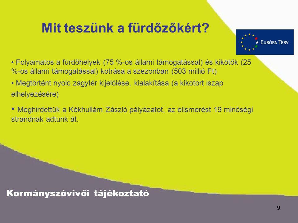Kormányszóvivői tájékoztató 8 Balaton és térsége turisztikai és kulturális vonzerejének növelése Programok készülnek a gyógyvíz- és a borturizmus fejl