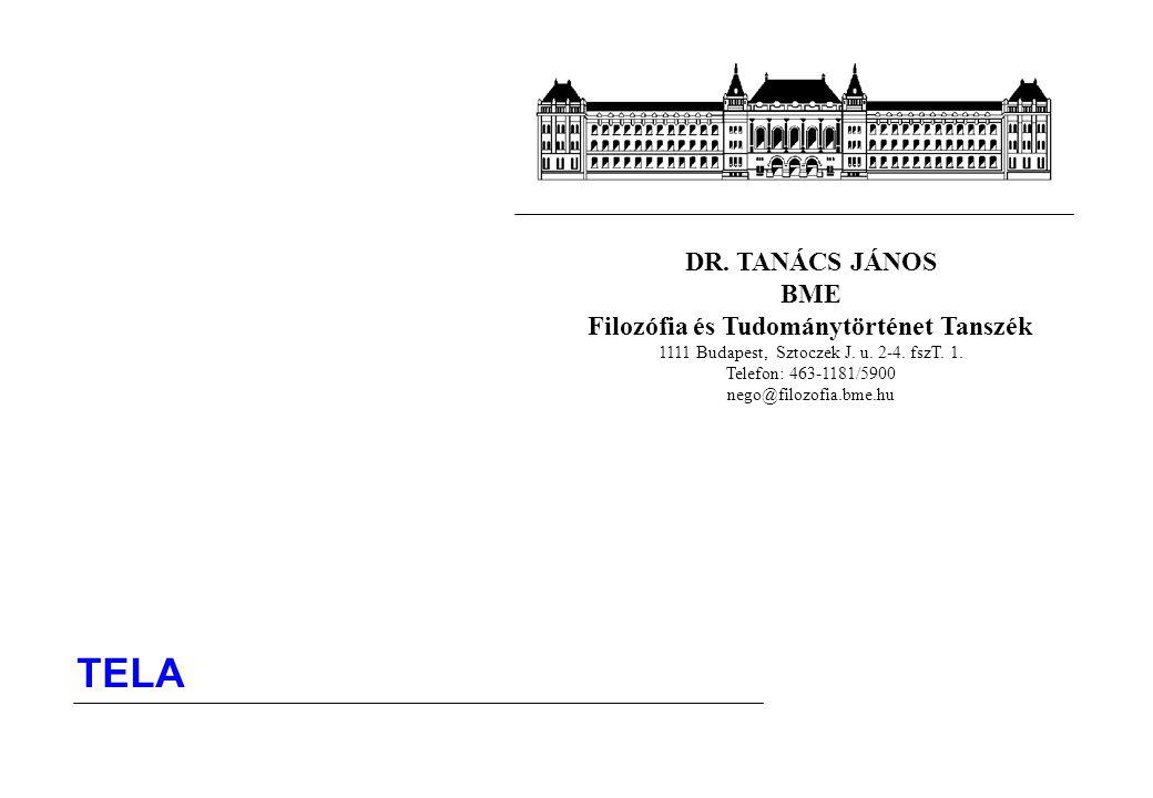 DR. TANÁCS JÁNOS BME Filozófia és Tudománytörténet Tanszék 1111 Budapest, Sztoczek J. u. 2-4. fszT. 1. Telefon: 463-1181/5900 nego@filozofia.bme.hu TE