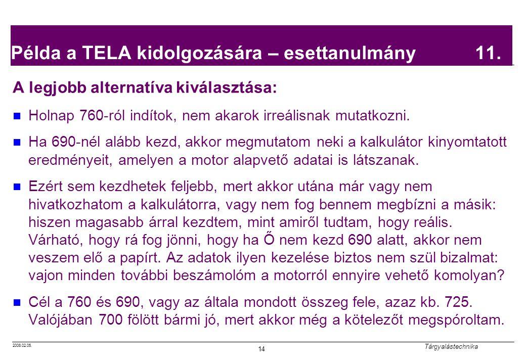 2008.02.05. Tárgyalástechnika 14 Példa a TELA kidolgozására – esettanulmány 11. A legjobb alternatíva kiválasztása: Holnap 760-ról indítok, nem akarok