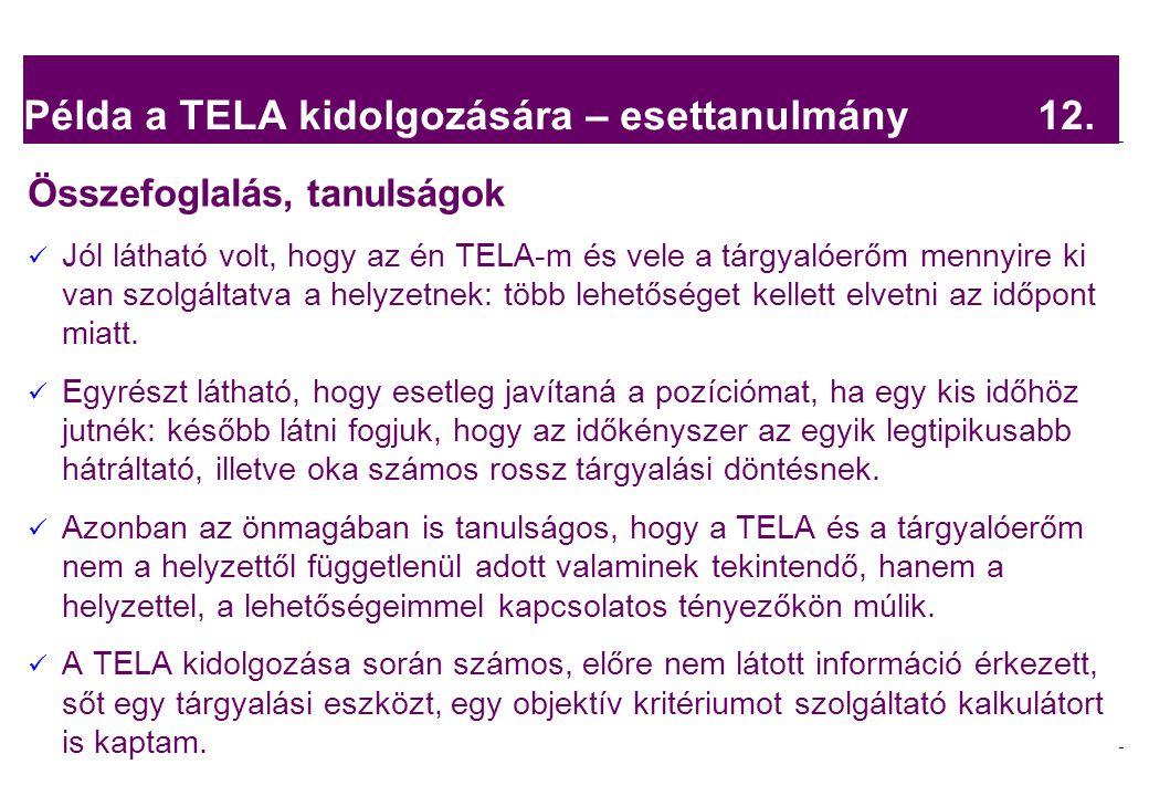 2008.02.05. Tárgyalástechnika 15 Példa a TELA kidolgozására – esettanulmány 12. Összefoglalás, tanulságok Jól látható volt, hogy az én TELA-m és vele