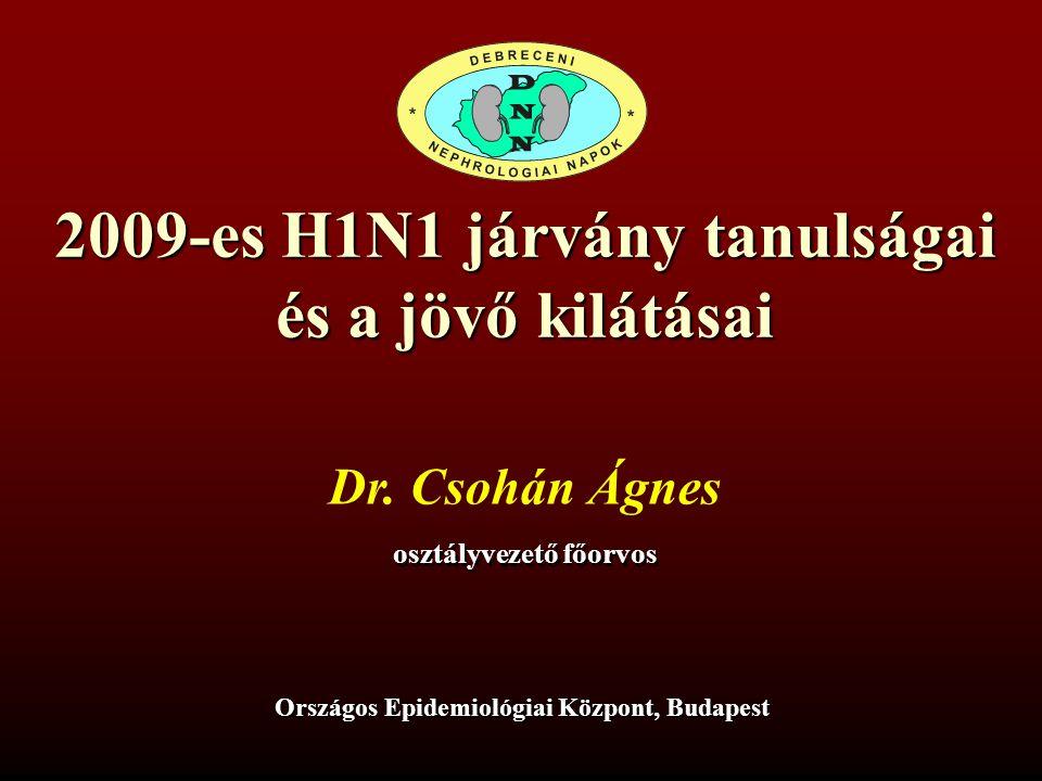 2009-es H1N1 járvány tanulságai és a jövő kilátásai Dr. Csohán Ágnes osztályvezető főorvos Országos Epidemiológiai Központ, Budapest