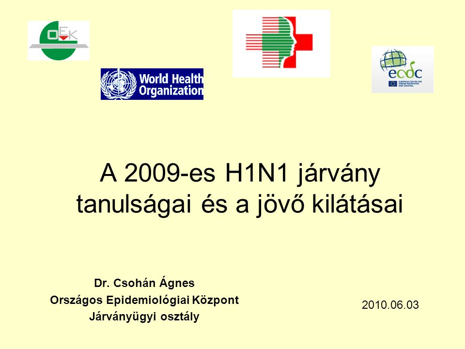 A 2009-es H1N1 járvány tanulságai és a jövő kilátásai Dr. Csohán Ágnes Országos Epidemiológiai Központ Járványügyi osztály 2010.06.03