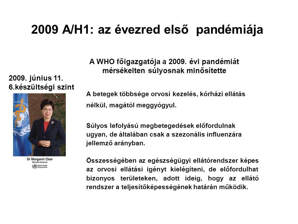 2009 A/H1: az évezred első pandémiája 2009. június 11. 6.készültségi szint A betegek többsége orvosi kezelés, kórházi ellátás nélkül, magától meggyógy