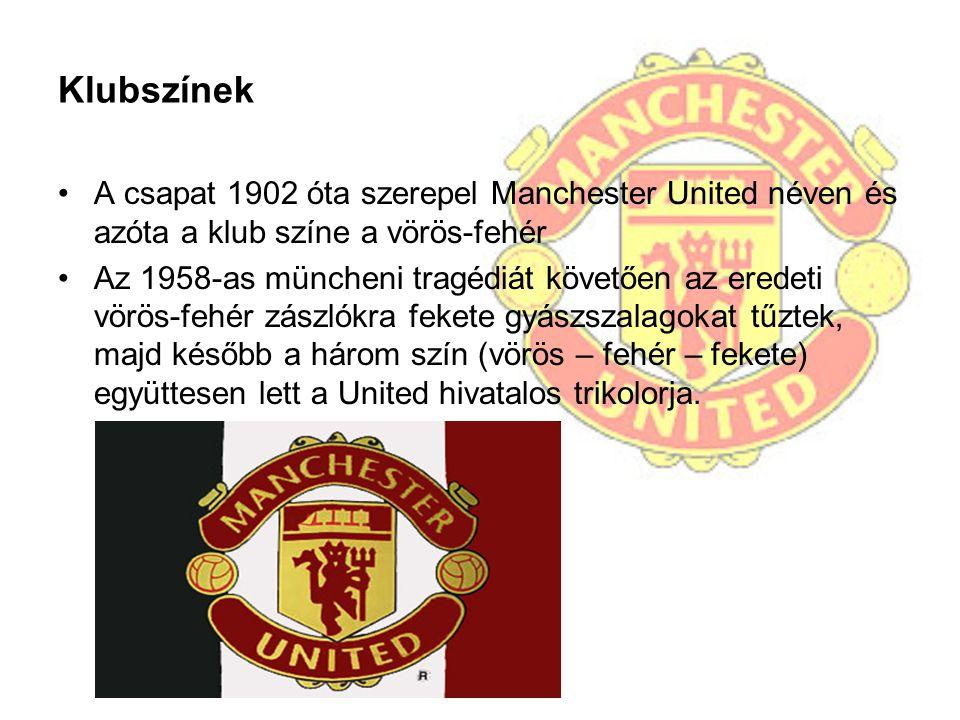 Klubszínek A csapat 1902 óta szerepel Manchester United néven és azóta a klub színe a vörös-fehér Az 1958-as müncheni tragédiát követően az eredeti vö