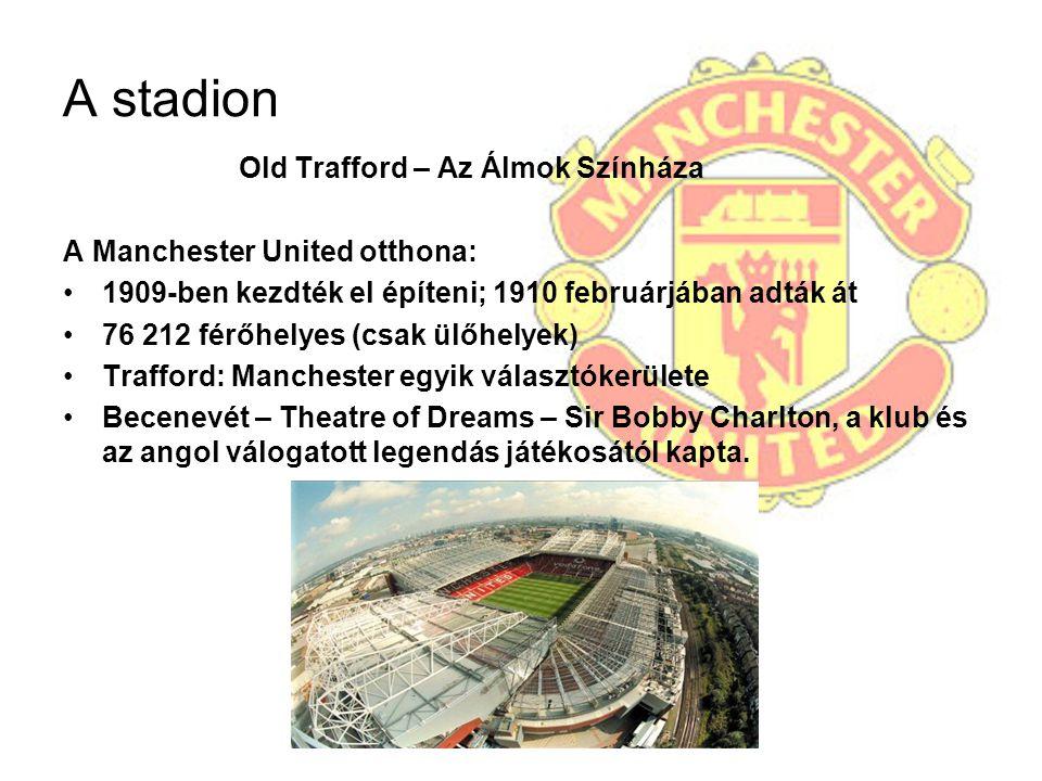 A stadion Old Trafford – Az Álmok Színháza A Manchester United otthona: 1909-ben kezdték el építeni; 1910 februárjában adták át 76 212 férőhelyes (csa