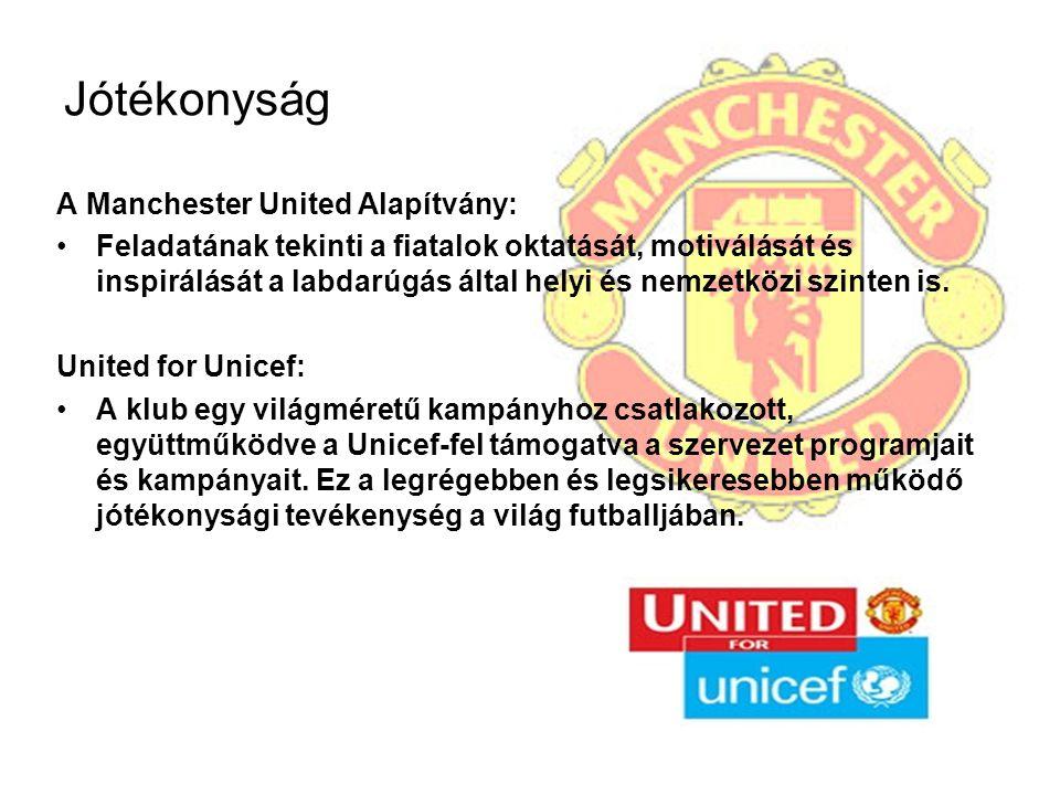 Jótékonyság A Manchester United Alapítvány: Feladatának tekinti a fiatalok oktatását, motiválását és inspirálását a labdarúgás által helyi és nemzetkö