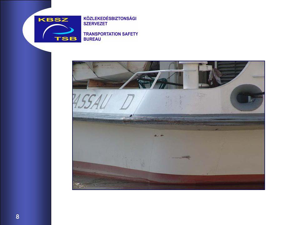 9 A vizsgálat alkalmával mindkét hajó vezetőjét meghallgattuk és azt a következtetést vontuk le, hogy a Csárdás ms.