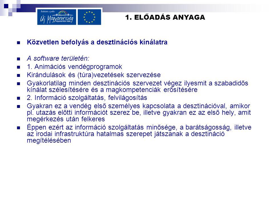 1. ELŐADÁS ANYAGA Közvetlen befolyás a desztinációs kínálatra A software területén: 1. Animációs vendégprogramok Kirándulások és (túra)vezetések szerv