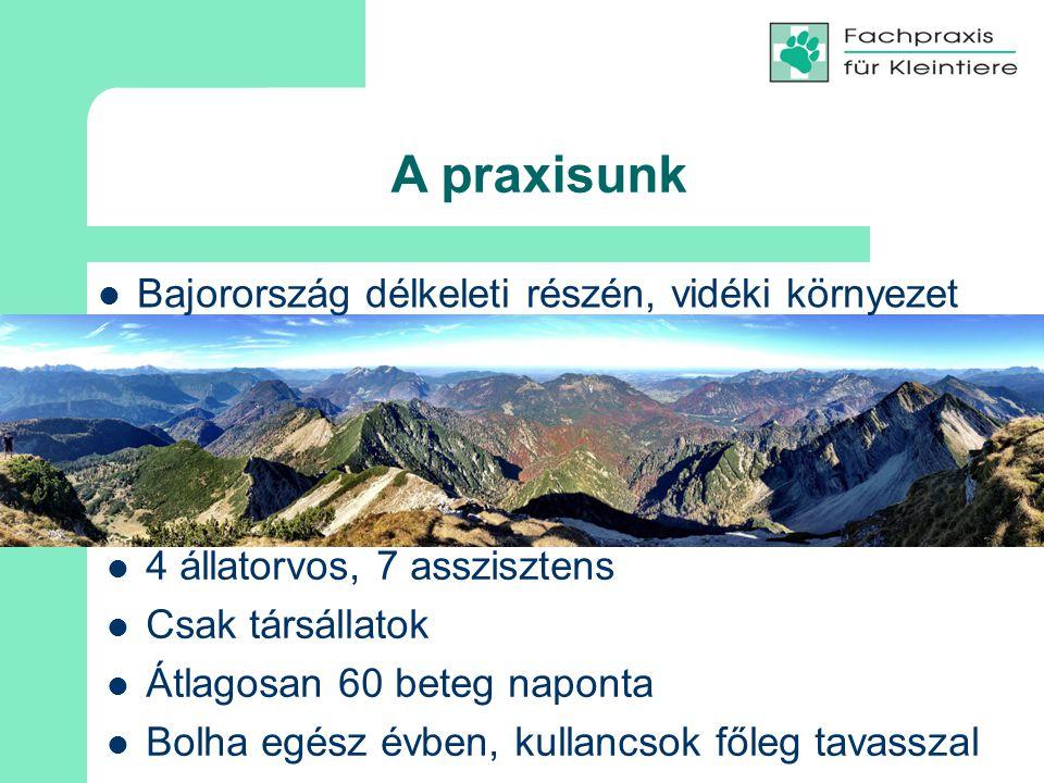 A praxisunk Bajorország délkeleti részén, vidéki környezet 4 állatorvos, 7 asszisztens Csak társállatok Átlagosan 60 beteg naponta Bolha egész évben, kullancsok főleg tavasszal
