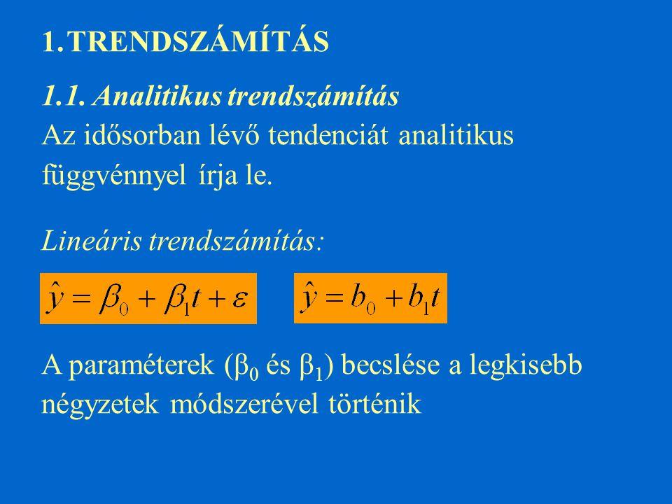 1.TRENDSZÁMÍTÁS 1.1. Analitikus trendszámítás Az idősorban lévő tendenciát analitikus függvénnyel írja le. Lineáris trendszámítás: A paraméterek (β 0