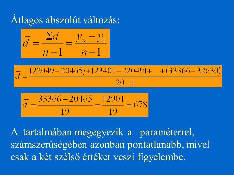 Átlagos abszolút változás: A tartalmában megegyezik a paraméterrel, számszerűségében azonban pontatlanabb, mivel csak a két szélső értéket veszi figye