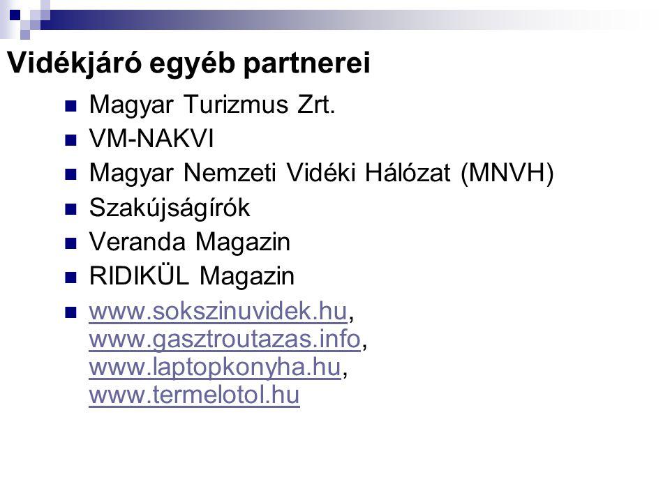 Vidékjáró egyéb partnerei Magyar Turizmus Zrt.