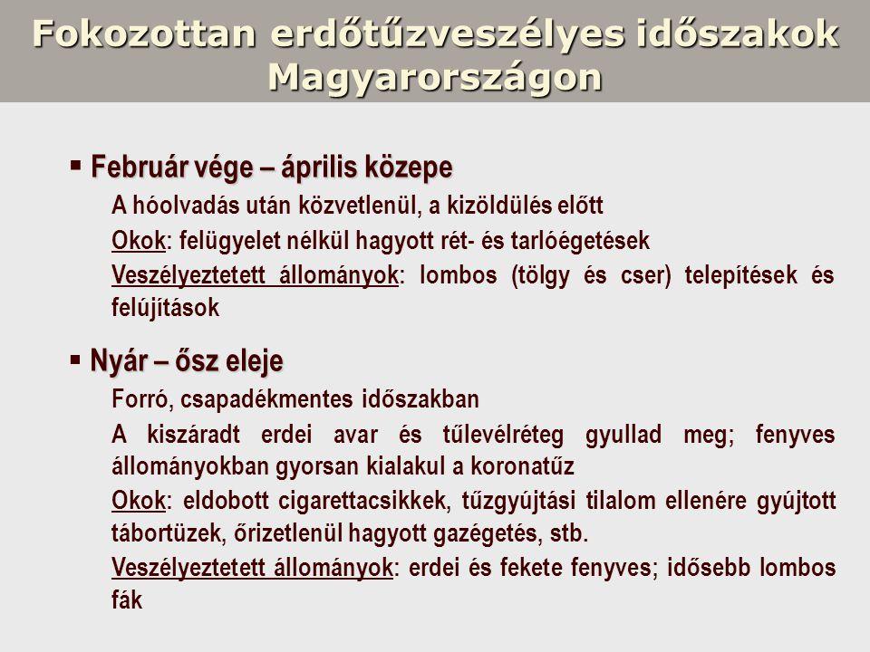 Fokozottan erdőtűzveszélyes időszakok Magyarországon Február vége – április közepe  Február vége – április közepe A hóolvadás után közvetlenül, a kiz