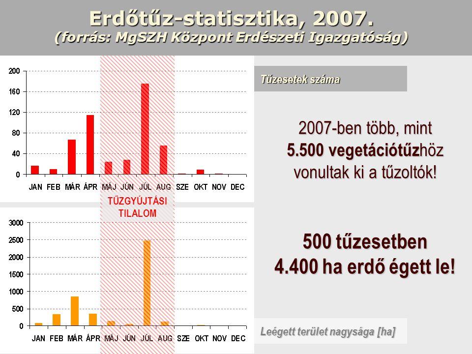 Erdőtűz-statisztika, 2007. (forrás: MgSZH Központ Erdészeti Igazgatóság) Leégett terület nagysága [ha] Tűzesetek száma 2007-ben több, mint 5.500 veget