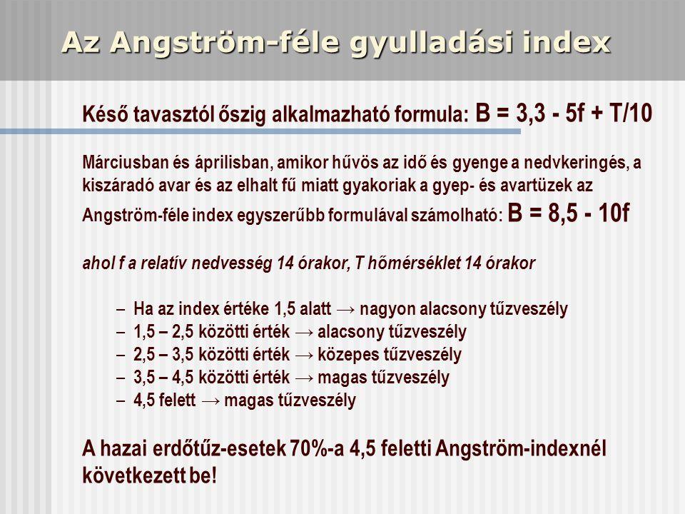 Az Angström-féle gyulladási index Késő tavasztól őszig alkalmazható formula: B = 3,3 - 5f + T/10 Márciusban és áprilisban, amikor hűvös az idő és gyen