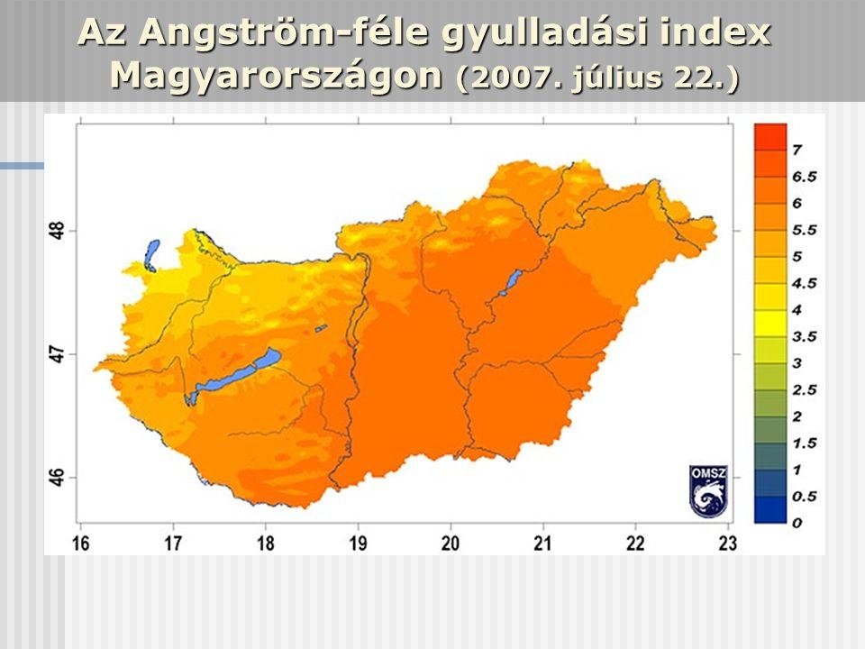 Az Angström-féle gyulladási index Magyarországon (2007. július 22.)