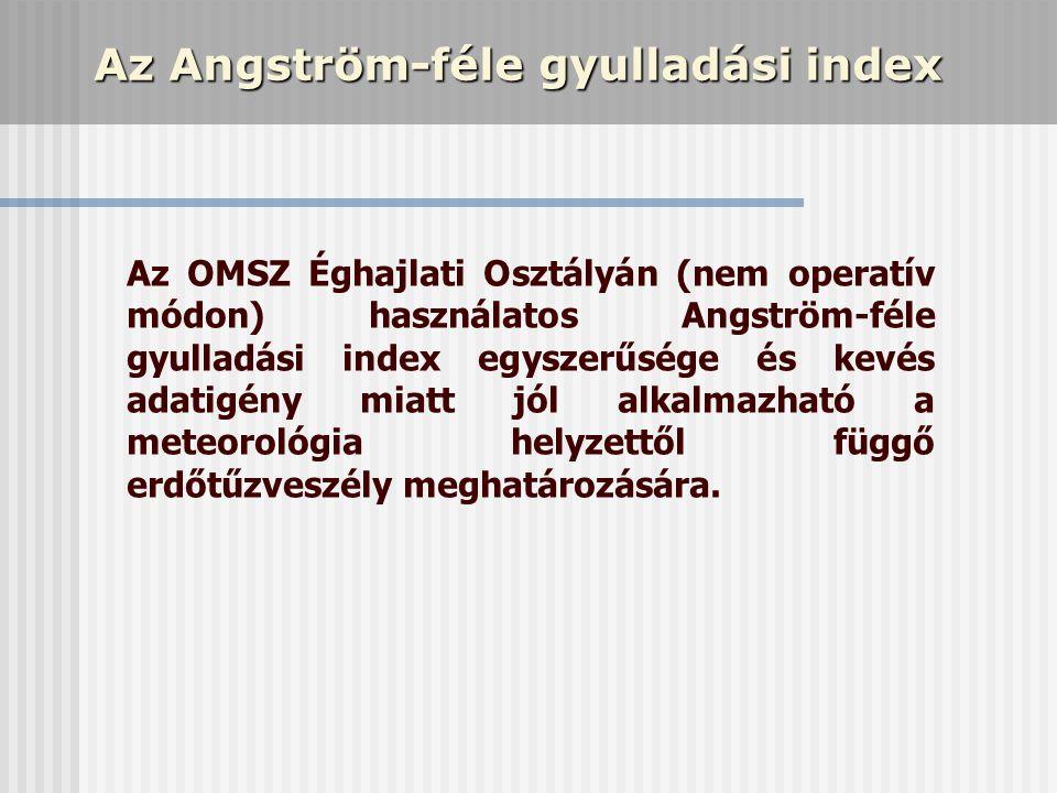Az Angström-féle gyulladási index Az OMSZ Éghajlati Osztályán (nem operatív módon) használatos Angström-féle gyulladási index egyszerűsége és kevés ad