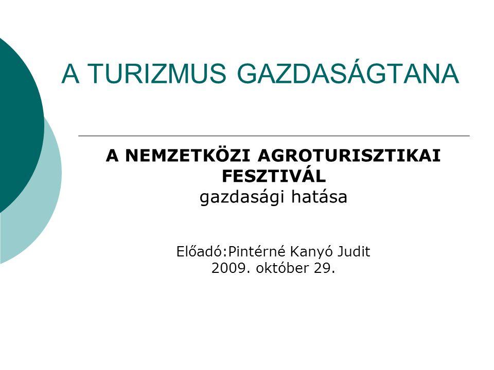 A TURIZMUS GAZDASÁGTANA A NEMZETKÖZI AGROTURISZTIKAI FESZTIVÁL gazdasági hatása Előadó:Pintérné Kanyó Judit 2009.