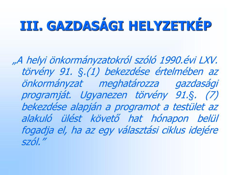 """III. GAZDASÁGI HELYZETKÉP """"A helyi önkormányzatokról szóló 1990.évi LXV."""