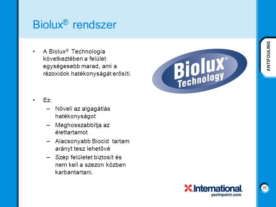 ANTIFOULING 35 Biolux ® rendszer A Biolux ® Technologia következtében a felület egységesebb marad, ami a rézoxidok hatékonyságát erősíti. Ez: –Növeli