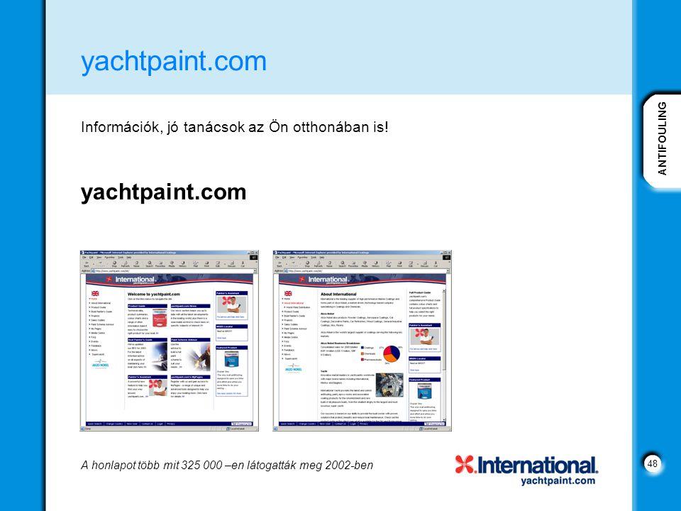 ANTIFOULING 48 yachtpaint.com Információk, jó tanácsok az Ön otthonában is! yachtpaint.com A honlapot több mit 325 000 –en látogatták meg 2002-ben