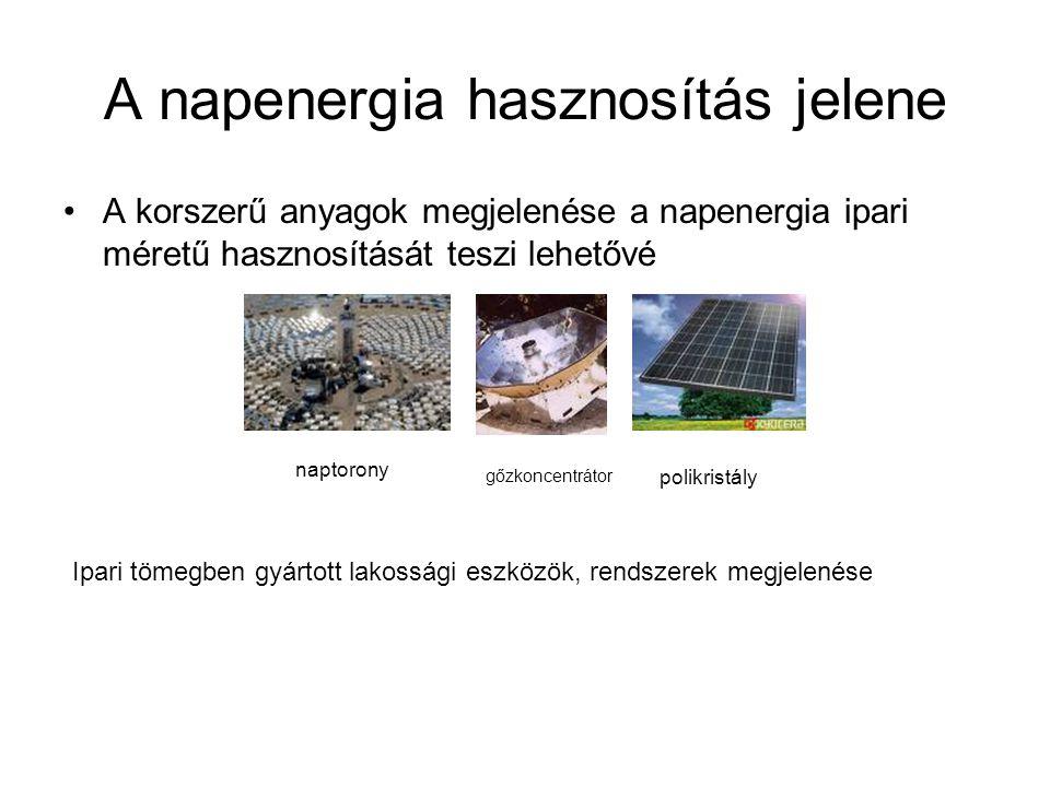 A napenergia hasznosítás jelene A korszerű anyagok megjelenése a napenergia ipari méretű hasznosítását teszi lehetővé naptorony gőzkoncentrátor polikr