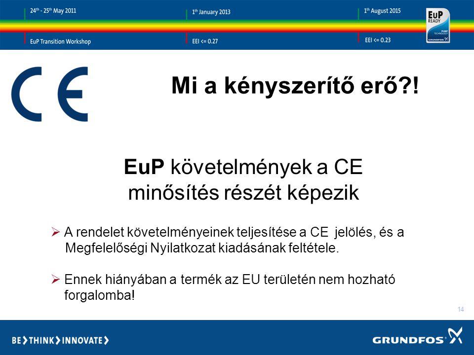 14 EuP követelmények a CE minősítés részét képezik  A rendelet követelményeinek teljesítése a CE jelölés, és a Megfelelőségi Nyilatkozat kiadásának feltétele.