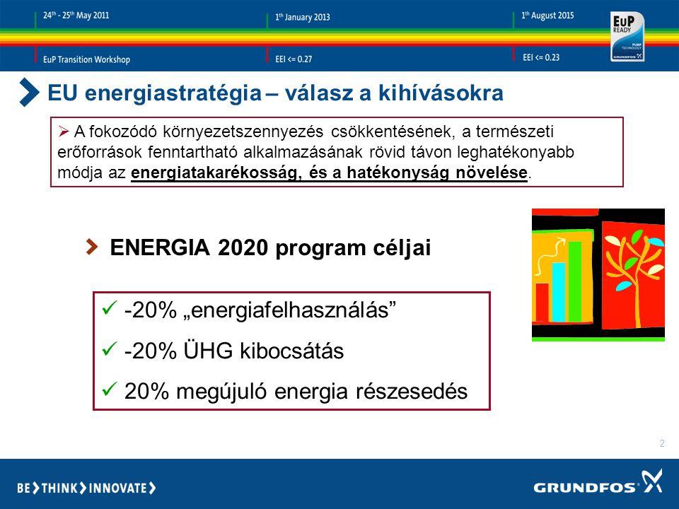 2 EU energiastratégia – válasz a kihívásokra  A fokozódó környezetszennyezés csökkentésének, a természeti erőforrások fenntartható alkalmazásának rövid távon leghatékonyabb módja az energiatakarékosság, és a hatékonyság növelése.