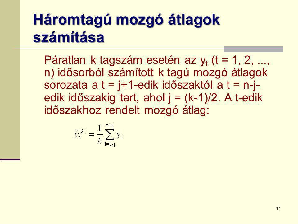 17 Háromtagú mozgó átlagok számítása Páratlan k tagszám esetén az y t (t = 1, 2,..., n) idősorból számított k tagú mozgó átlagok sorozata a t = j+1-ed