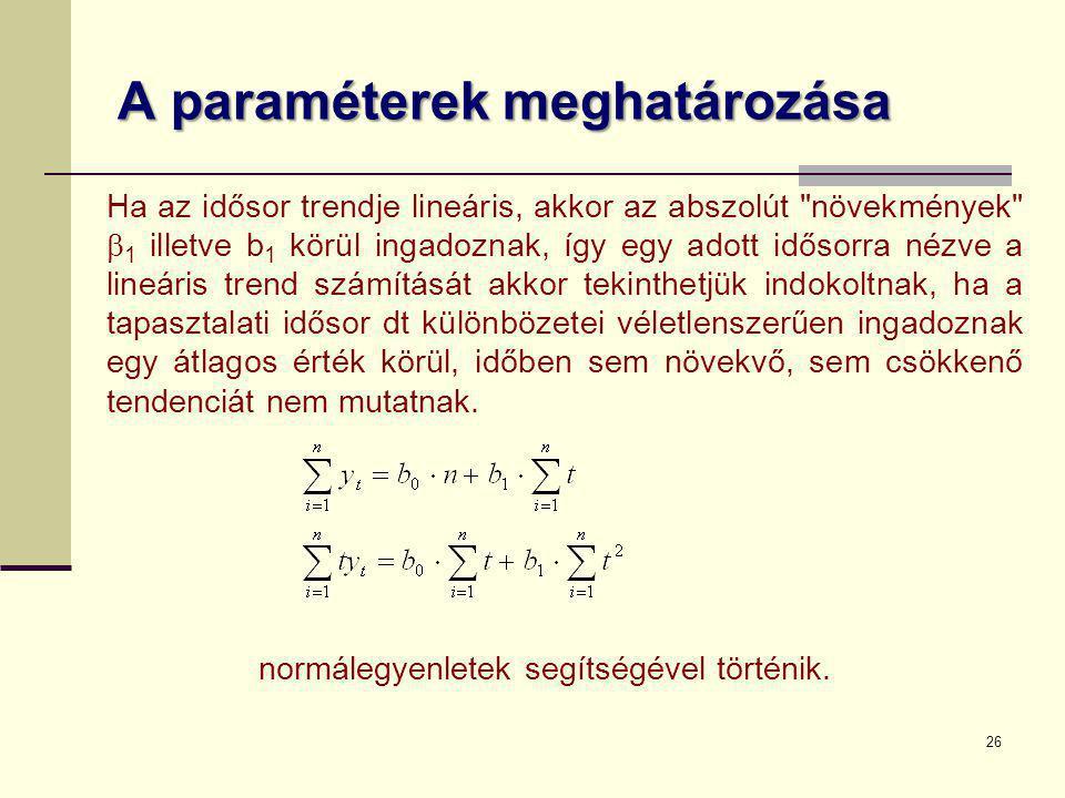 26 A paraméterek meghatározása normálegyenletek segítségével történik. Ha az idősor trendje lineáris, akkor az abszolút