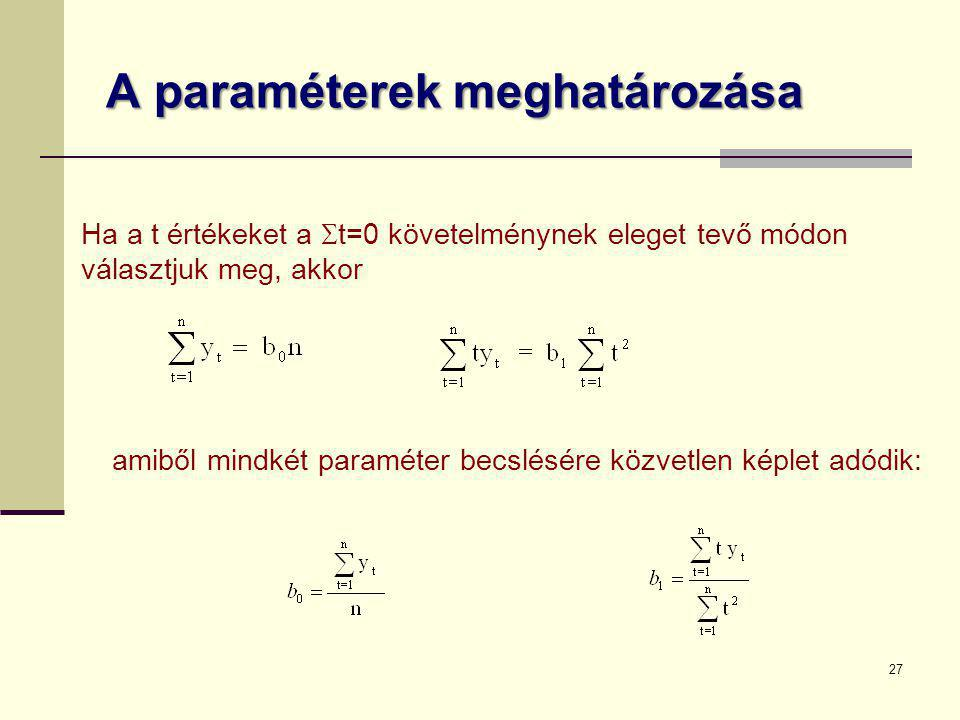 27 A paraméterek meghatározása Ha a t értékeket a  t=0 követelménynek eleget tevő módon választjuk meg, akkor amiből mindkét paraméter becslésére köz