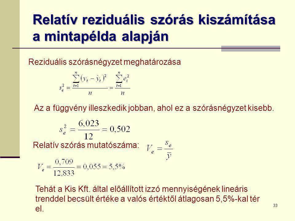 Relatív reziduális szórás kiszámítása a mintapélda alapján Reziduális szórásnégyzet meghatározása 33 Az a függvény illeszkedik jobban, ahol ez a szórá