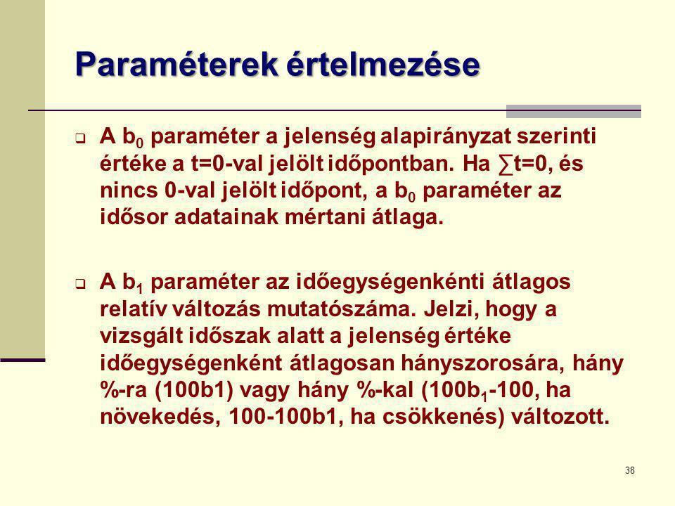 38 Paraméterek értelmezése  A b 0 paraméter a jelenség alapirányzat szerinti értéke a t=0-val jelölt időpontban. Ha ∑t=0, és nincs 0-val jelölt időpo