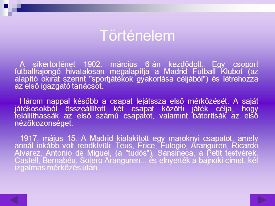 Real Madrid A klub dióhéjban Készítette: Szabó Csaba NT I. évf.