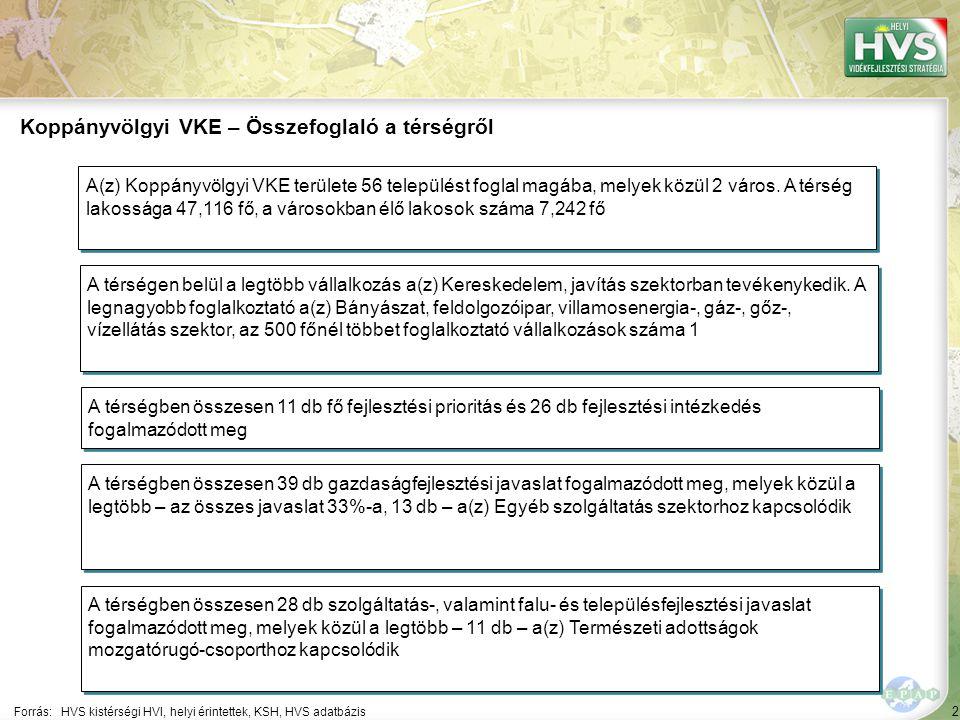 2 Forrás:HVS kistérségi HVI, helyi érintettek, KSH, HVS adatbázis Koppányvölgyi VKE – Összefoglaló a térségről A térségen belül a legtöbb vállalkozás a(z) Kereskedelem, javítás szektorban tevékenykedik.