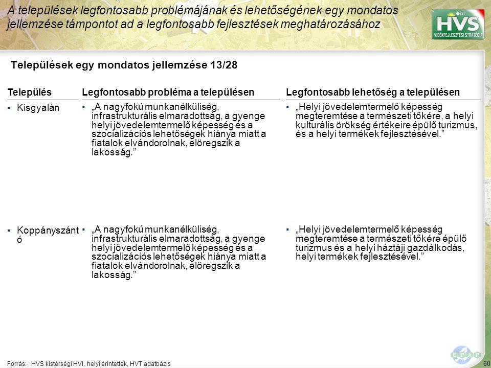 """60 Települések egy mondatos jellemzése 13/28 A települések legfontosabb problémájának és lehetőségének egy mondatos jellemzése támpontot ad a legfontosabb fejlesztések meghatározásához Forrás:HVS kistérségi HVI, helyi érintettek, HVT adatbázis TelepülésLegfontosabb probléma a településen ▪Kisgyalán ▪""""A nagyfokú munkanélküliség, infrastrukturális elmaradottság, a gyenge helyi jövedelemtermelő képesség és a szocializációs lehetőségek hiánya miatt a fiatalok elvándorolnak, elöregszik a lakosság. ▪Koppányszánt ó ▪""""A nagyfokú munkanélküliség, infrastrukturális elmaradottság, a gyenge helyi jövedelemtermelő képesség és a szocializációs lehetőségek hiánya miatt a fiatalok elvándorolnak, elöregszik a lakosság. Legfontosabb lehetőség a településen ▪""""Helyi jövedelemtermelő képesség megteremtése a természeti tőkére, a helyi kulturális örökség értékeire épülő turizmus, és a helyi termékek fejlesztésével. ▪""""Helyi jövedelemtermelő képesség megteremtése a természeti tőkére épülő turizmus és a helyi háztáji gazdálkodás, helyi termékek fejlesztésével."""