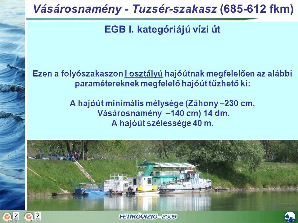 EGB I. kategóriájú vízi út Ezen a folyószakaszon I osztályú hajóútnak megfelelően az alábbi paramétereknek megfelelő hajóút tűzhető ki: A hajóút minim