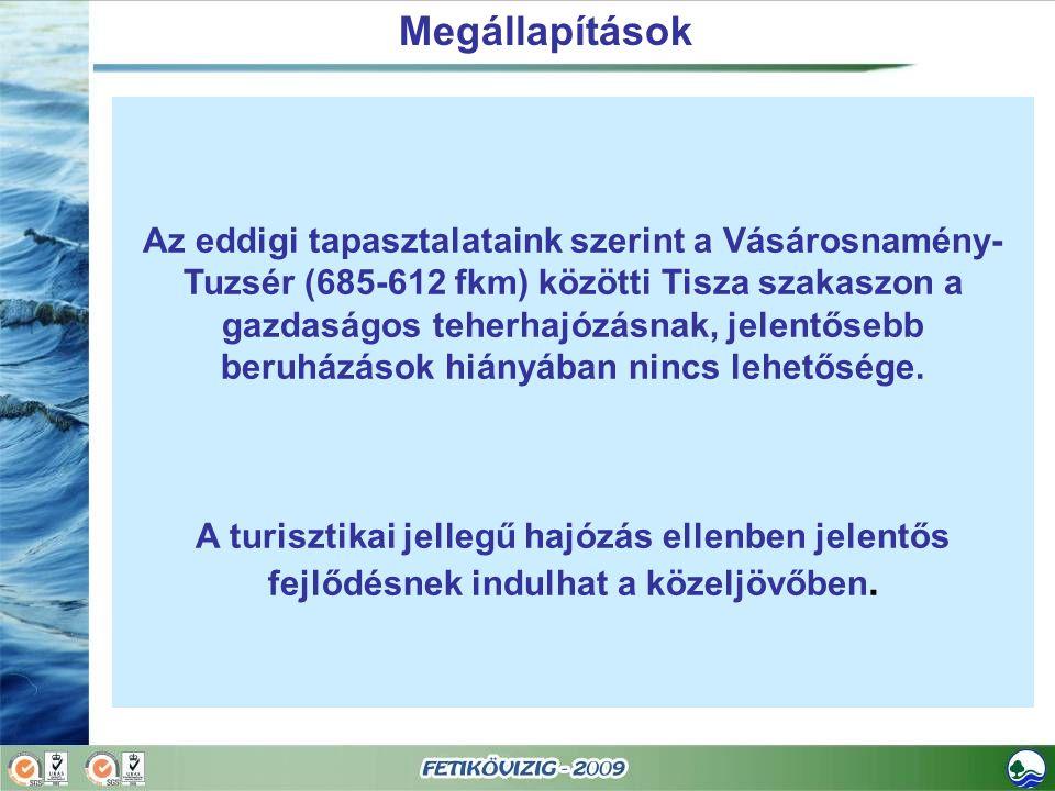 Megállapítások Az eddigi tapasztalataink szerint a Vásárosnamény- Tuzsér (685-612 fkm) közötti Tisza szakaszon a gazdaságos teherhajózásnak, jelentőse