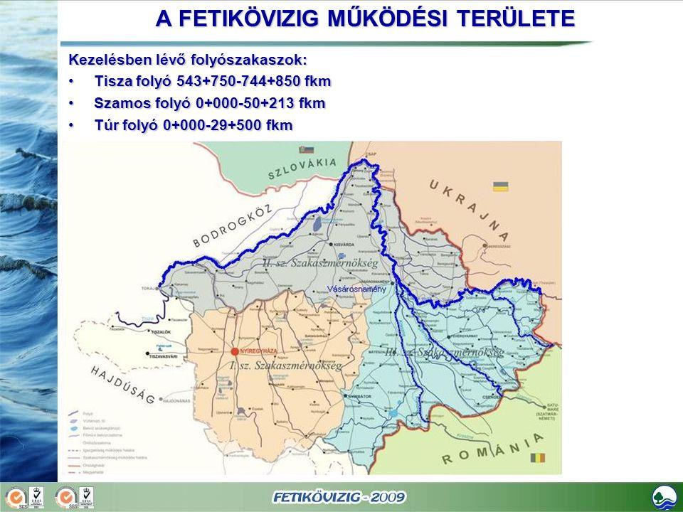 A FETIKÖVIZIG MŰKÖDÉSI TERÜLETE Kezelésben lévő folyószakaszok: Tisza folyó 543+750-744+850 fkmTisza folyó 543+750-744+850 fkm Szamos folyó 0+000-50+2
