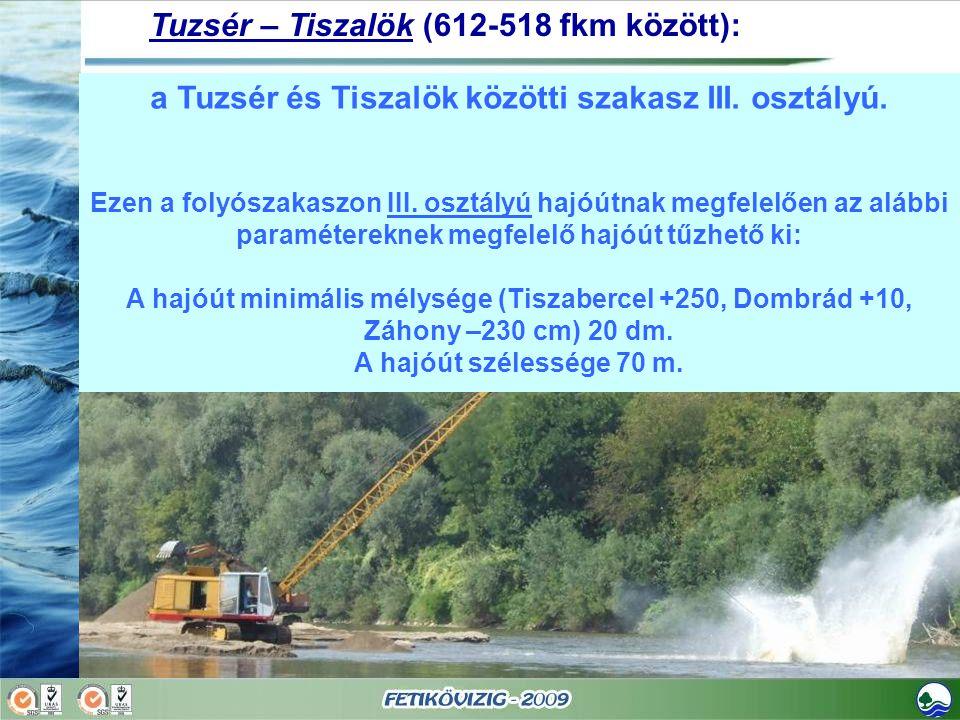 a Tuzsér és Tiszalök közötti szakasz III. osztályú. Ezen a folyószakaszon III. osztályú hajóútnak megfelelően az alábbi paramétereknek megfelelő hajóú