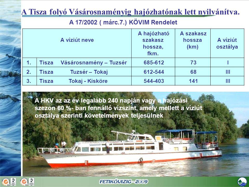 A Tisza folyó Vásárosnaményig hajózhatónak lett nyilvánítva. A 17/2002 ( márc.7.) KÖVIM Rendelet A víziút neve A hajózható szakasz hossza, fkm. A szak
