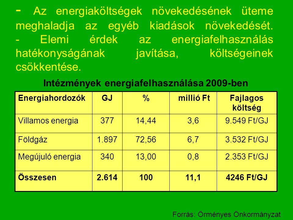 - Az energiaköltségek növekedésének üteme meghaladja az egyéb kiadások növekedését. - Elemi érdek az energiafelhasználás hatékonyságának javítása, köl
