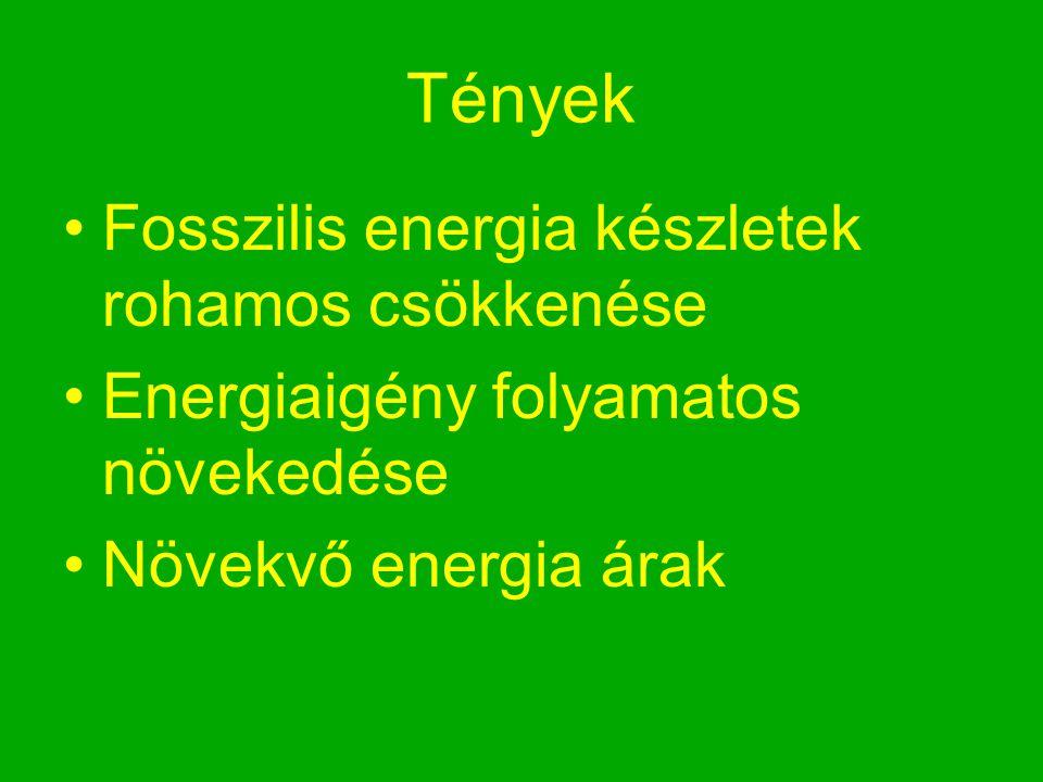 Tények Fosszilis energia készletek rohamos csökkenése Energiaigény folyamatos növekedése Növekvő energia árak