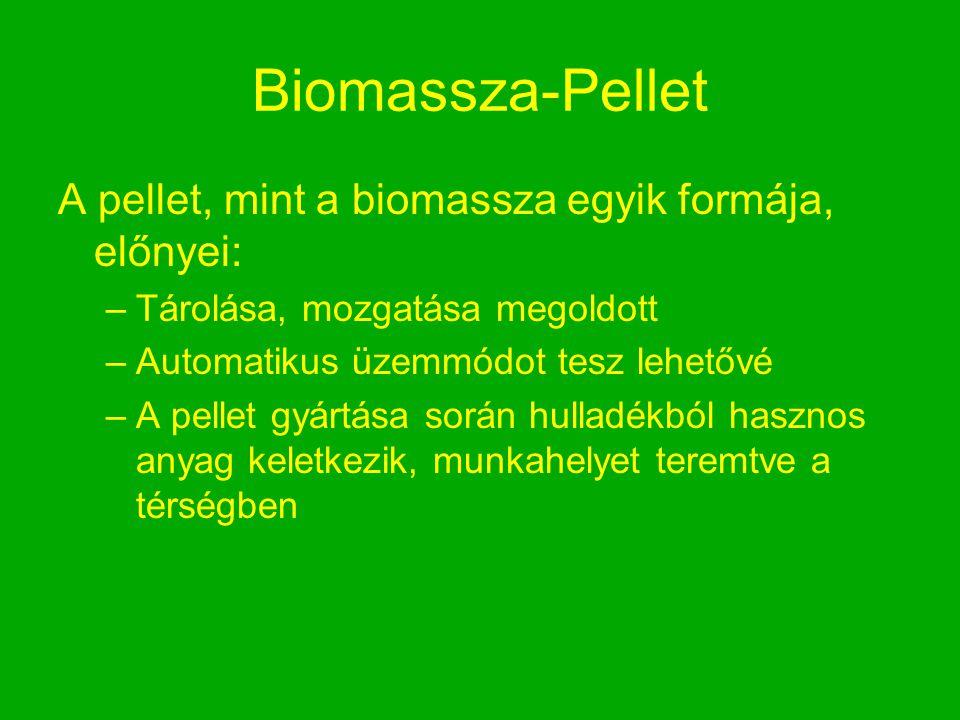 Biomassza-Pellet A pellet, mint a biomassza egyik formája, előnyei: –Tárolása, mozgatása megoldott –Automatikus üzemmódot tesz lehetővé –A pellet gyár