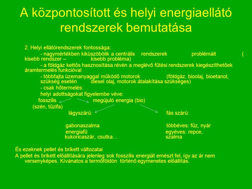 A központosított és helyi energiaellátó rendszerek bemutatása 2. Helyi ellátórendszerek fontossága: - nagymértékben kiküszöbölik a centrális rendszere