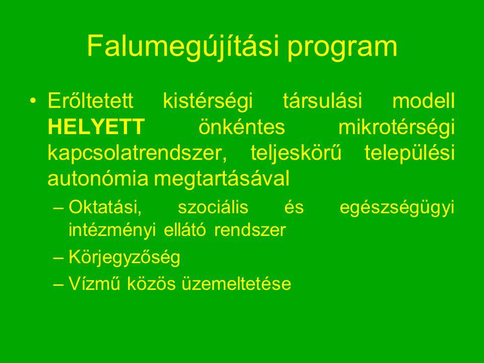 Falumegújítási program Erőltetett kistérségi társulási modell HELYETT önkéntes mikrotérségi kapcsolatrendszer, teljeskörű települési autonómia megtart